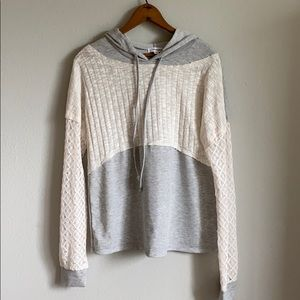 Gray and lace fall hoodie 💕